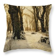 A Wooded Winter Landscape With Deer Throw Pillow by Peder Monsted