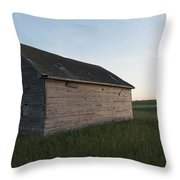A Wooden Shed In The Middle Of A Grass Throw Pillow
