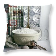 A Wooden Spoon In A Bowl Of Flour Throw Pillow