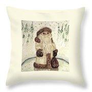 A Woodland Santa Throw Pillow