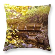 A Woodsy Walk In Golden Fall Color Throw Pillow