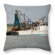 Seadrift Texas Working Boat Throw Pillow