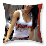A Working Girl Throw Pillow by David Kehrli