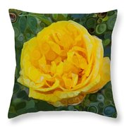 A Yellow Rose Abstract Painting Throw Pillow