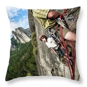 A Young Boy And Climbers In Yosemite Throw Pillow