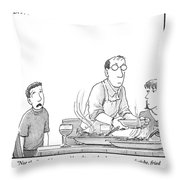 A Young Boy Complains About What's For Dinner Throw Pillow