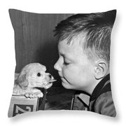 A Young Boy Is Face To Face With A Puppy Tongue. Throw Pillow