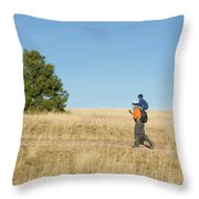 A Young Boy Rides On His Dads Shoulders Throw Pillow