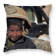 A Young Boy Wears A Coalition Force Throw Pillow