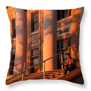 A Young Caucasian Male Student Sits Throw Pillow