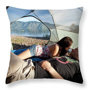 A Young Couple Camping Talk Throw Pillow