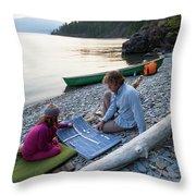 A Young Girl And Her Dad Enjoying Camp Throw Pillow