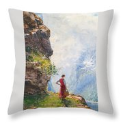 A Young Girl By A Fjord Throw Pillow