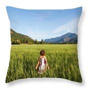 A Young Girl, Daughter Of A Farmer Throw Pillow