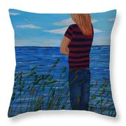 A Young Girl Dreaming Throw Pillow