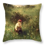 A Young Girl In A Field Throw Pillow