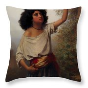 A Young Gypsy Woman With Tambourine  Throw Pillow