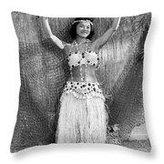A Young Hawaiian Hula Woman Throw Pillow