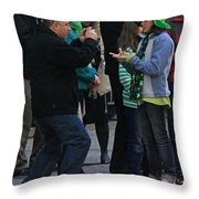 A Young Lady Posing During The 2009 New York St. Patrick Day Parade Throw Pillow