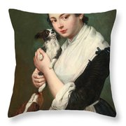 A Young Lady With Two Dogs Throw Pillow