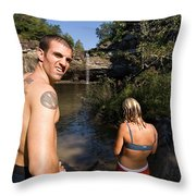 A Young Man And Woman Pause Throw Pillow