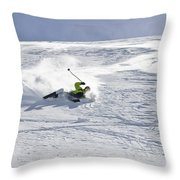 A Young Man Falls While Skiing Throw Pillow