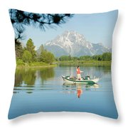 A Young Man Fly Fishes From His Drift Throw Pillow