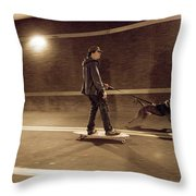 A Young Man On A Skateboard Is Pulled Throw Pillow