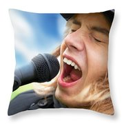 A Young Man Sings To A Microphone Throw Pillow