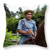 A Young Man Sits On A Horse And Smiles Throw Pillow