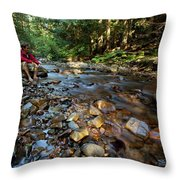 A Young Man Watches A Shallow River Throw Pillow