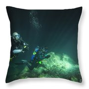 A Young Married Couple Scuba Diving Throw Pillow by Michael Wood