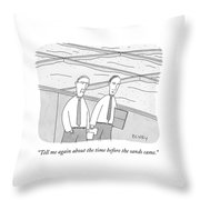 A Young Office Employee Asks An Older Employee Throw Pillow