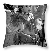 A Young Warrior - B W Throw Pillow