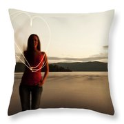 A Young Woman Drawing A Heart At Sunset Throw Pillow