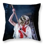 A Young Woman Holds An Axe Overhead Throw Pillow