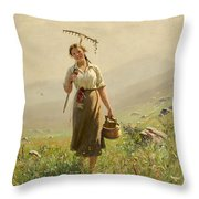 A Young Woman In The Meadow Throw Pillow