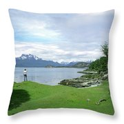 A Young Woman Looks Out Over The Sea Throw Pillow