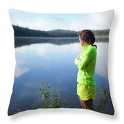 A Young Woman Looks Out Over Unna Lake Throw Pillow