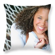 A Young Woman On A Hammock Throw Pillow