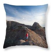 A Young Woman On A Narrow Ridge Throw Pillow