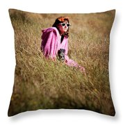 A Young Woman Sitting In A Field Throw Pillow