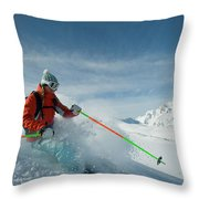A Young Woman Skis The Backcountry Throw Pillow