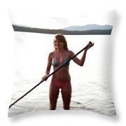 A Young Woman Smiles While Stand Throw Pillow