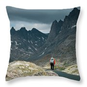 A Young Woman Takes In The View While Throw Pillow