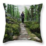 A Young Woman Walks Along An Sub-alpine Throw Pillow