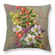 A Yuletide Posy Throw Pillow