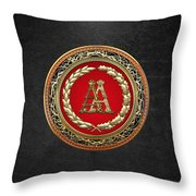 Aa Initials - Gold Antique Monogram On Black Leather Throw Pillow
