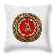 Aa Initials - Gold Antique Monogram On White Leather Throw Pillow