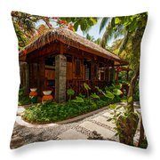 Aaramu Spa Hideaway In Tropical Garden. Maldives Throw Pillow